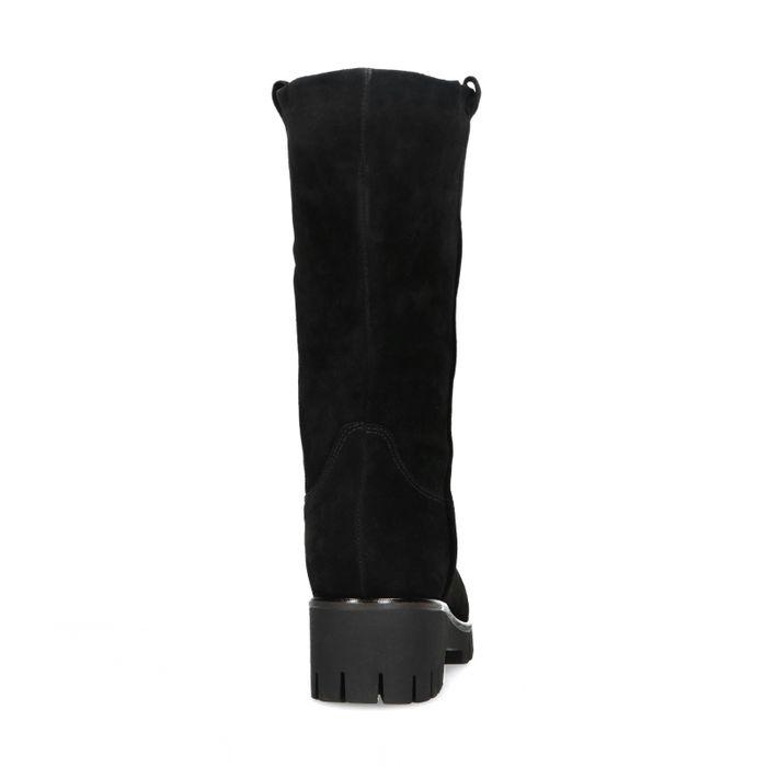Kurze schwarze Stiefel aus Veloursleder