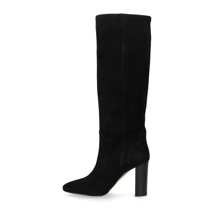 Schwarze Veloursleder-Stiefel mit hohem Absatz