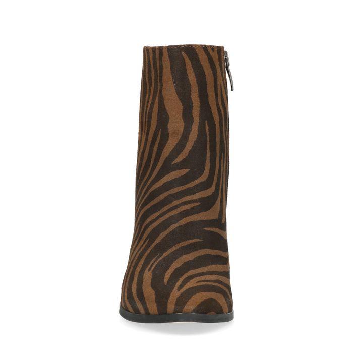 Absatz-Stiefeletten mit Tigermuster