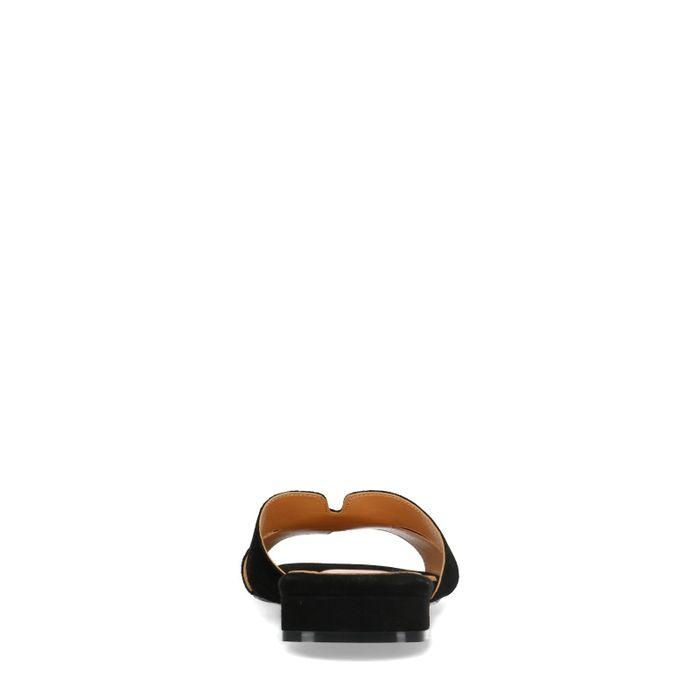 Schwarze Veloursleder-Sandalen