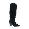 Schwarze Raff-Stiefel aus Veloursleder