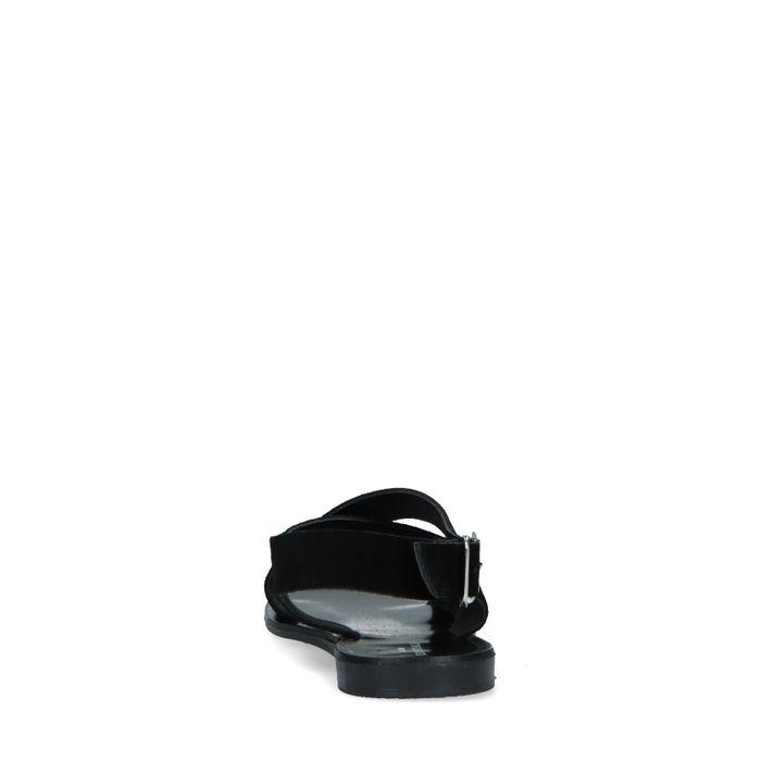 Schwarze Veloursleder-Sandalen mit geflochtenen Riemchen