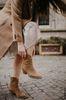 Taupefarbene Cowboystiefel aus Veloursleder
