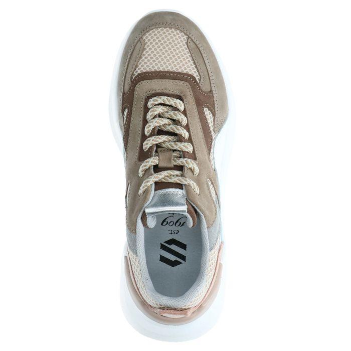 Taupefarbene Dad-Sneaker aus Veloursleder