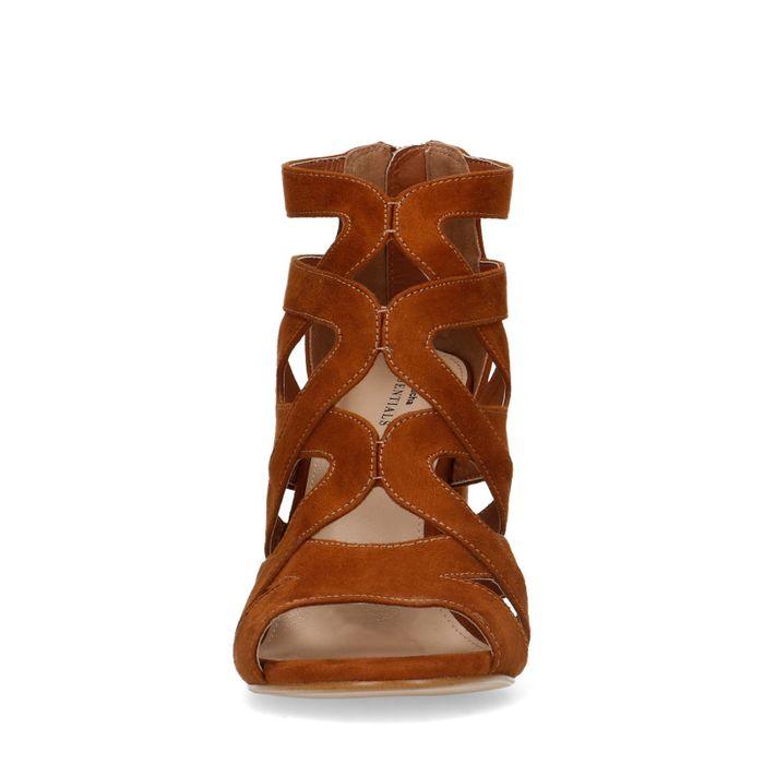 Offene cognacfarbene Sandaletten