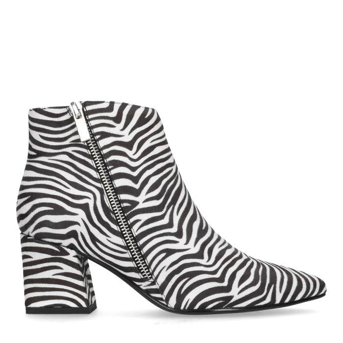 Absatz-Stiefeletten mit Zebramuster