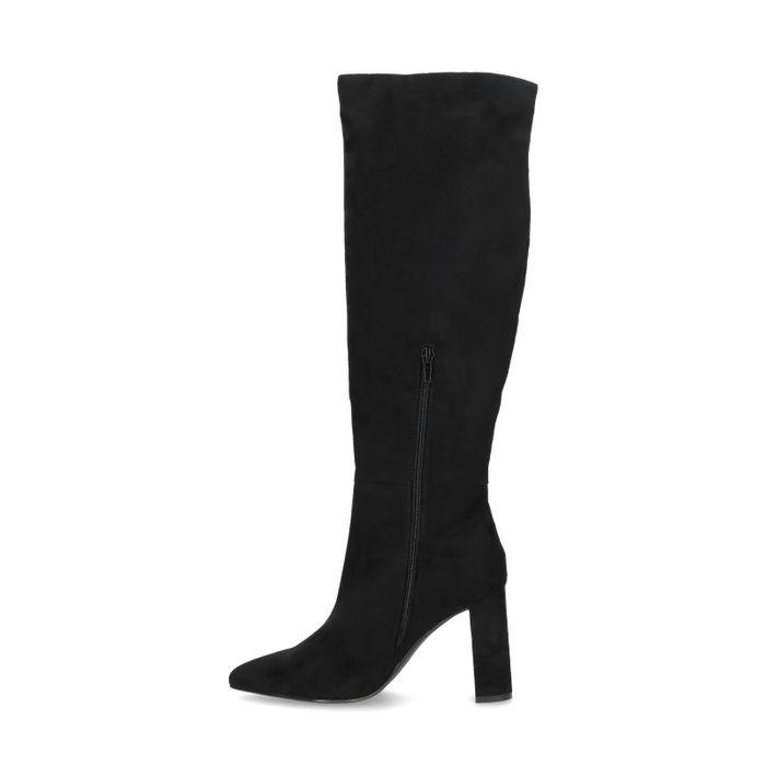 Hohe schwarze Veloursleder-Stiefel mit Absatz