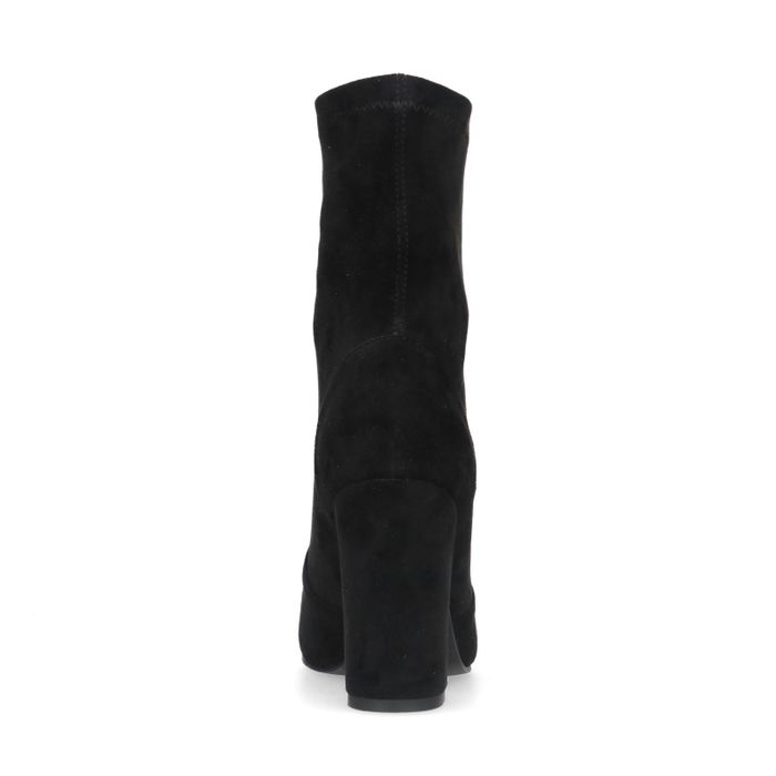 Schwarze Stiefeletten aus Velourslederimitat