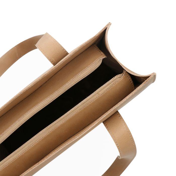 Cabas en cuir avec compartiment ordinateur portable - beige