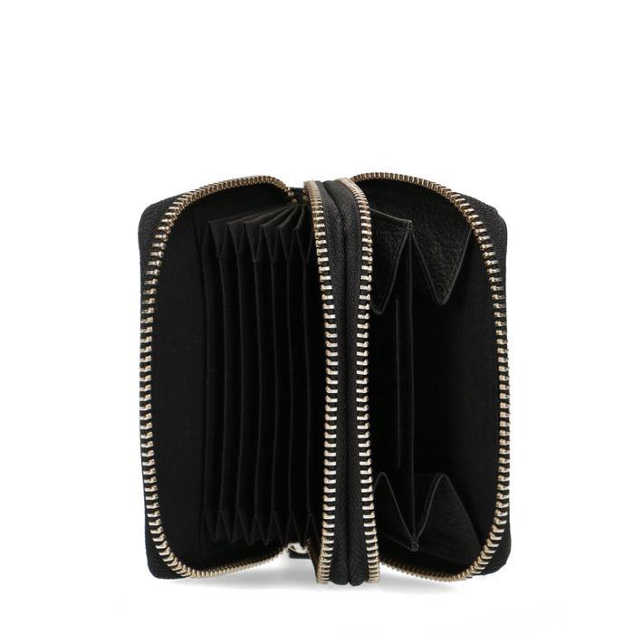 Portefeuille en cuir avec double fermeture éclair - noir