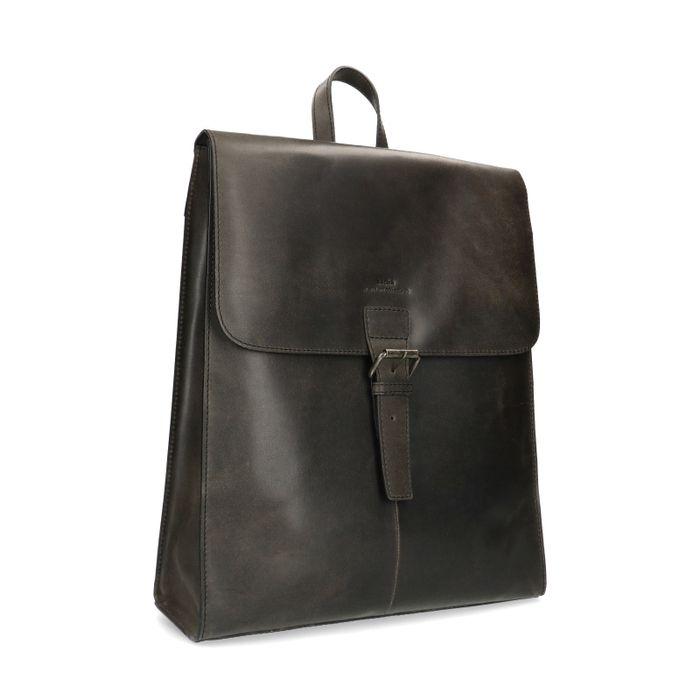 Sac à dos cuir avec étui pour ordinateur portable - noir