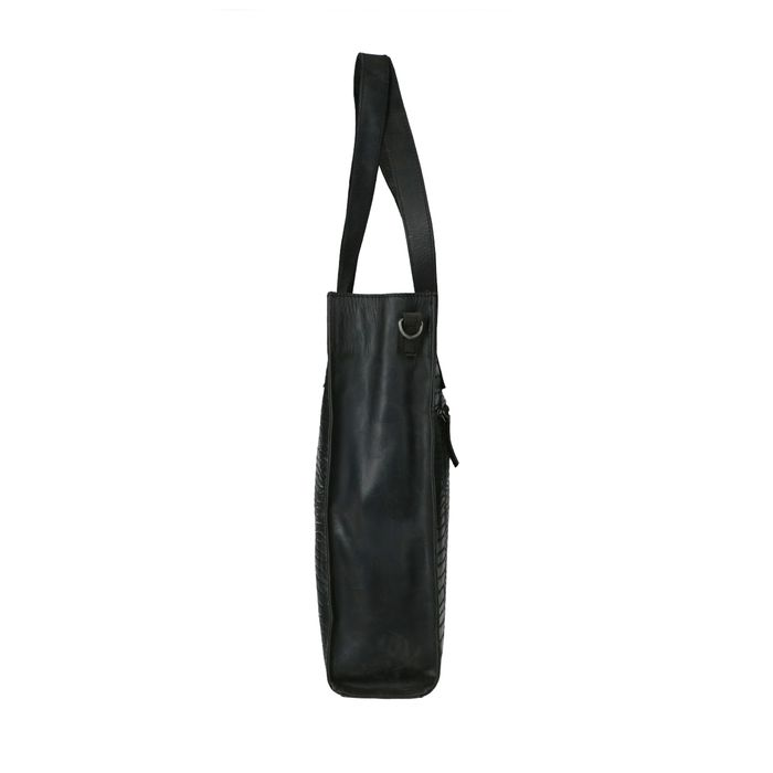 Cabas en cuir avec imprimé croco - noir