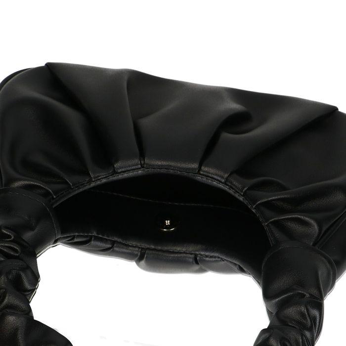 Sac à main en cuir avec détails plissés - noir