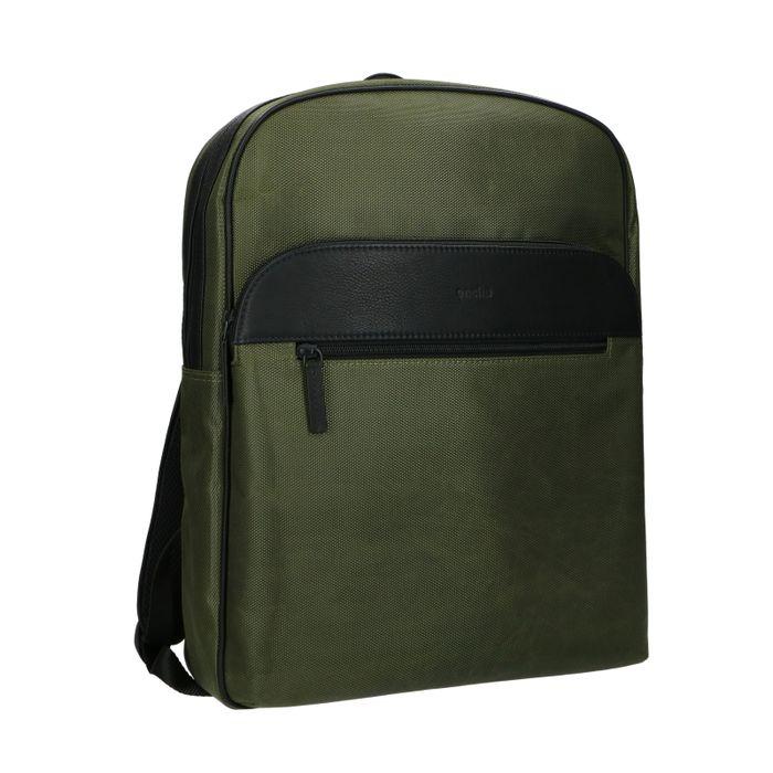 Sac à dos cuir avec étui pour ordinateur portable - vert