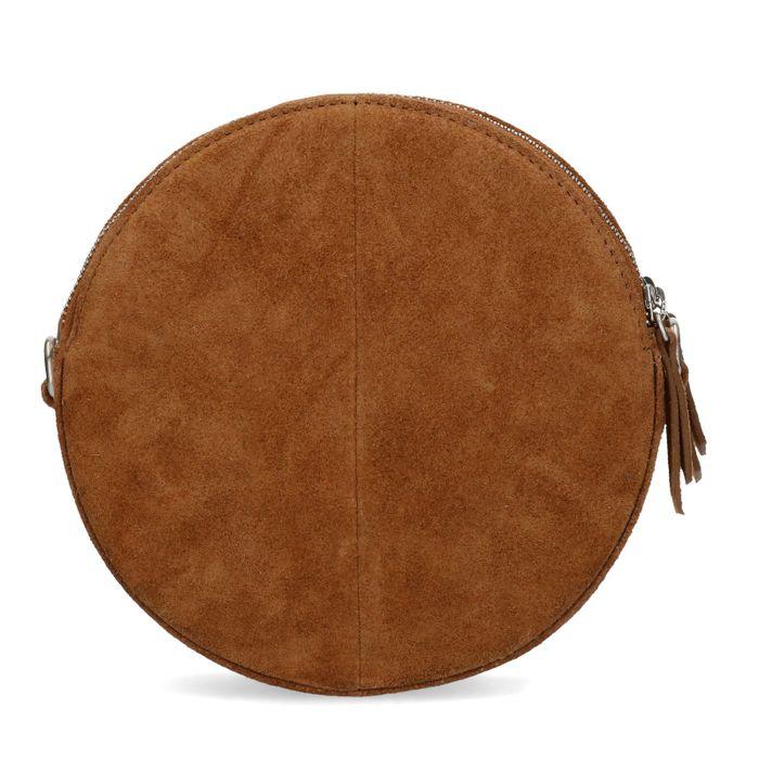 Petit sac rond en daim - marron