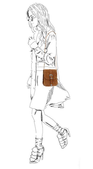 Sac bandoulière style western - marron