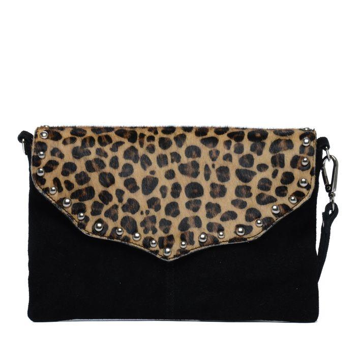 Sac clutch en daim imprimé léopard