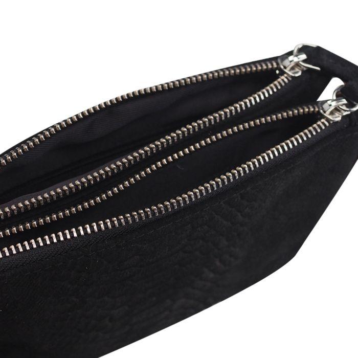 Sac bandoulière en daim avec imprimé croco - noir