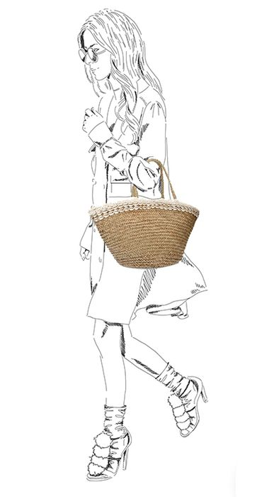 Cabas en rotin tiges d'ata avec coquillages - beige
