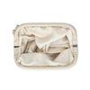 Pochette en cuir avec détail plissé - beige