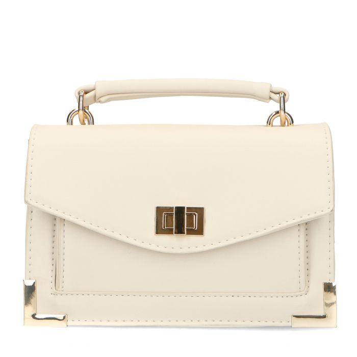 Mini sac avec détails dorés - blanc cassé