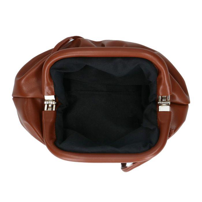 Pochette en cuir avec détail plissé - marron foncé