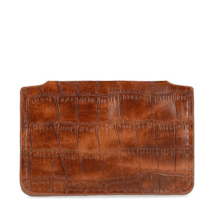 Portefeuille avec imprimé croco - marron