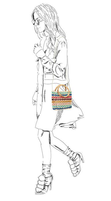 Sac bandoulière avec perles - multicolore