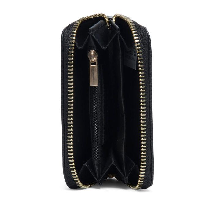Portefeuille noir avec fermeture éclair dorée