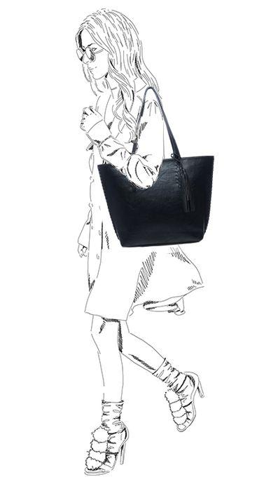 Sac à main avec pochette - noir