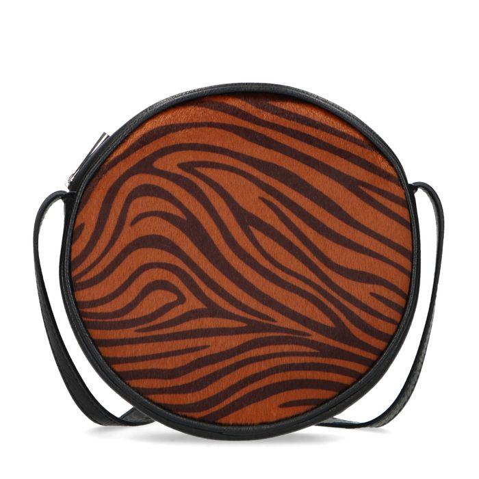 Sac bandoulière rond avec imprimé tigre - noir