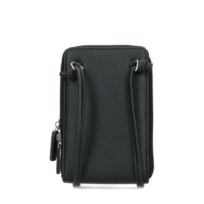Sac téléphone en cuir avec imprimé croco - noir