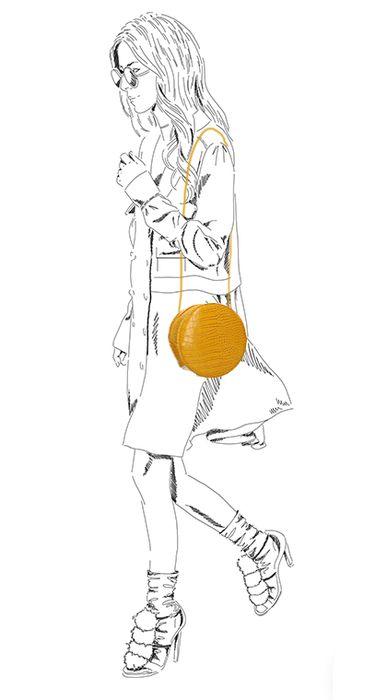Sac bandoulière rond - jaune ocre