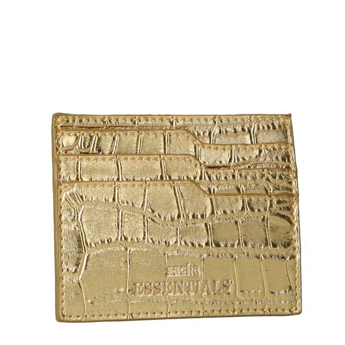 Porte-cartes avec imprimé croco - doré