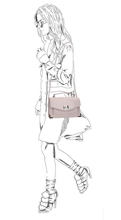Sac bandoulière croco - rose pâle
