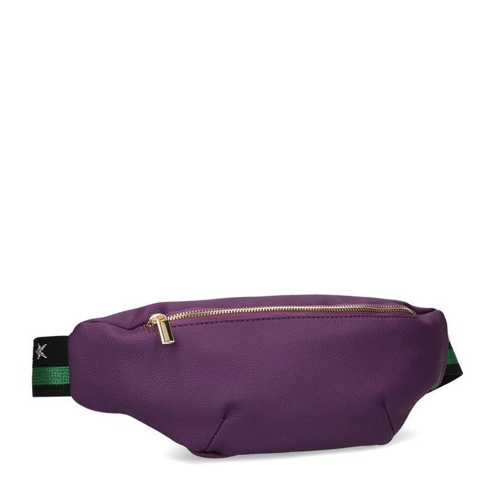 Sac banane violet avec bandoulière noir et vert