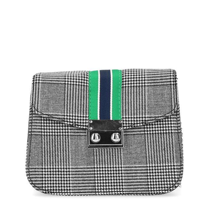 Petit sac bandoulière à carreaux avec détail - gris