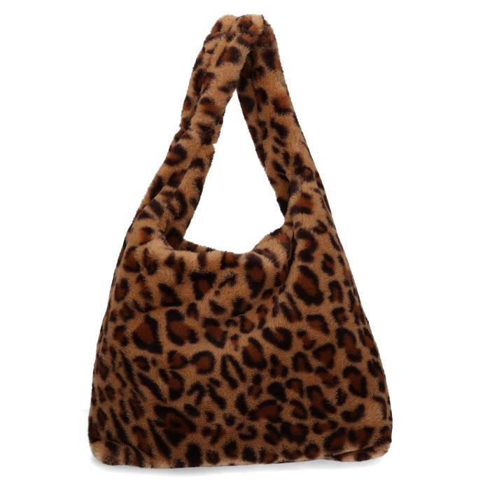 Sac fausse fourrure avec imprimé léopard