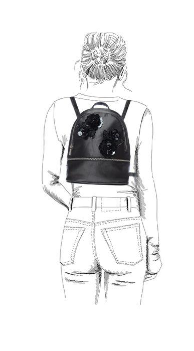 Sac à dos avec paillettes fleur - noir