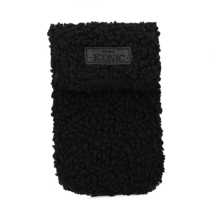 Petit sac duveteux pour téléphone - noir