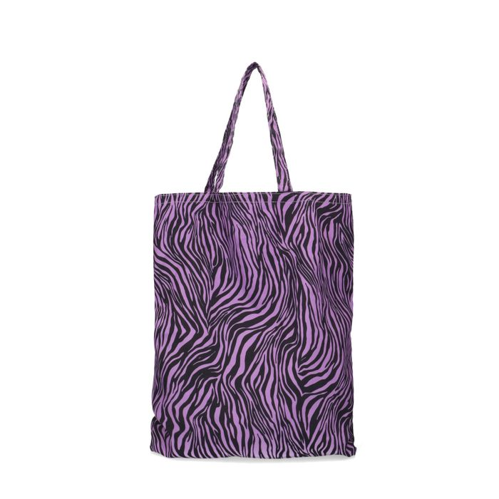 Cabas en coton avec imprimé zèbre - violet