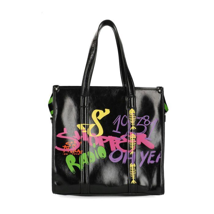 Cabas avec graffitis fluo - noir
