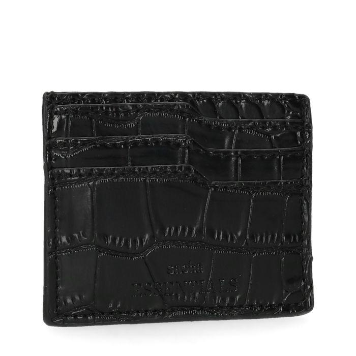 Porte-cartes avec imprimé croco - noir