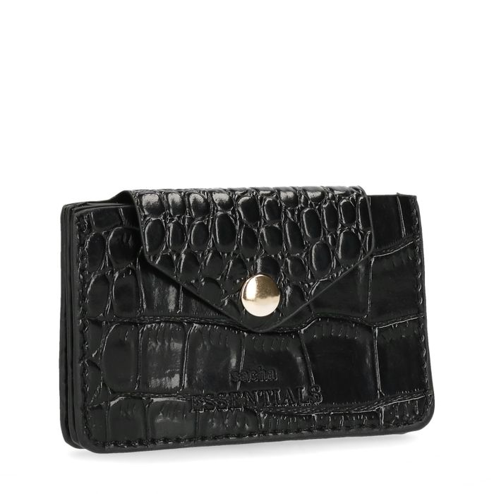 Portefeuille avec imprimé croco - noir