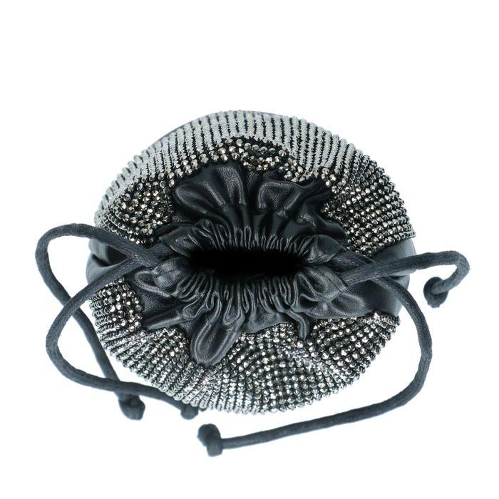 Sac bandoulière en cuir avec paillettes - noir