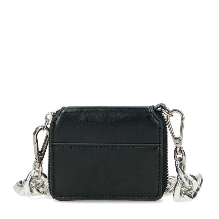 Mini porte-monnaie en cuir avec grosse chaîne - noir