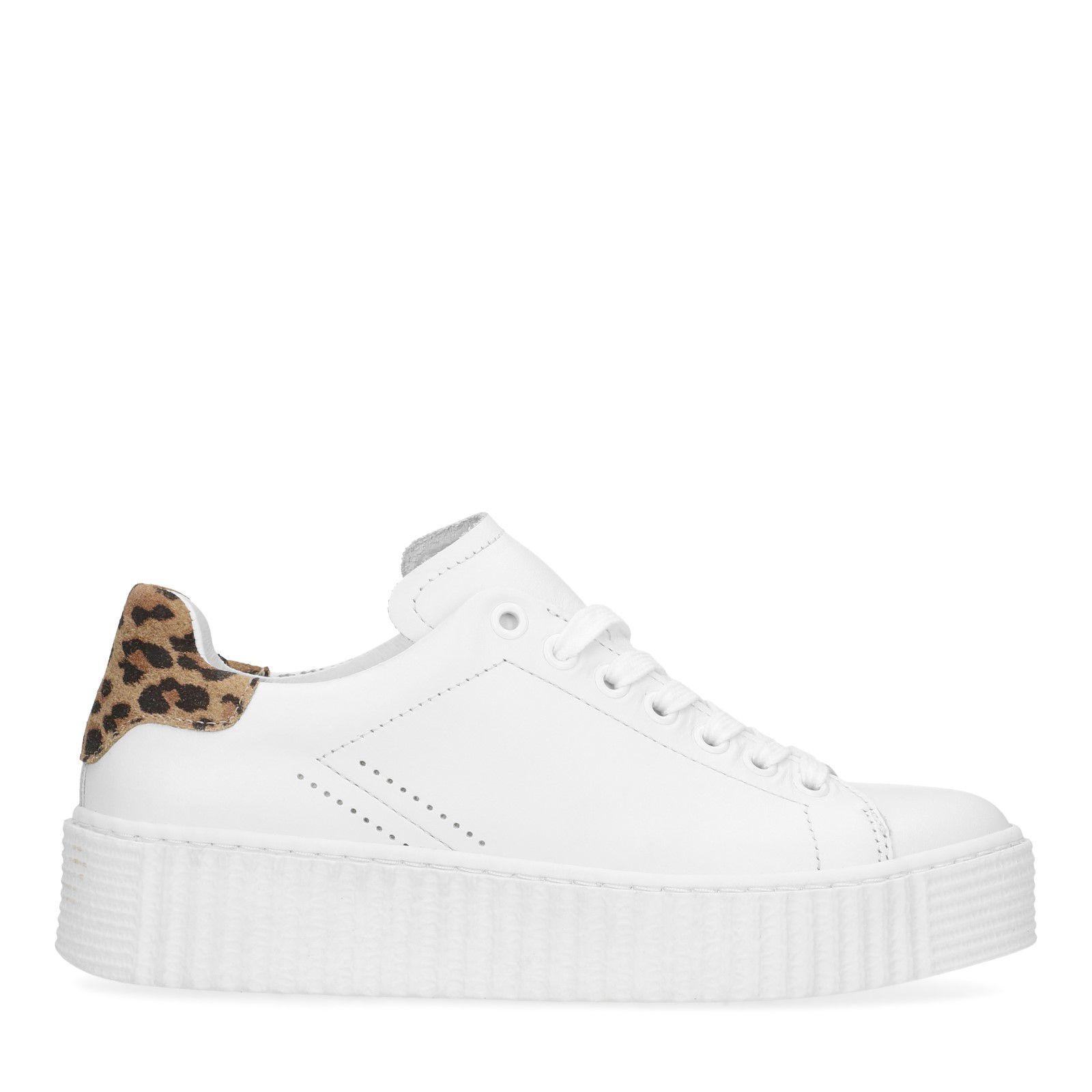 leren sneakers dames wit met printje