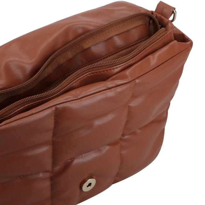 Camelbraune Puffer-Tasche