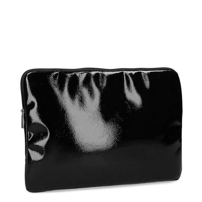 Schwarze Laptoptasche aus Lack