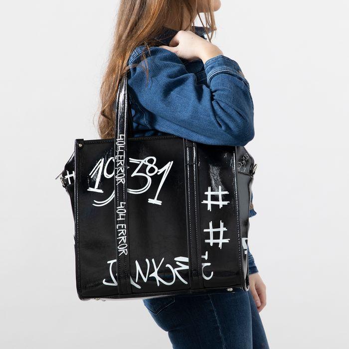 Schwarzer Shopper mit Schriftzug